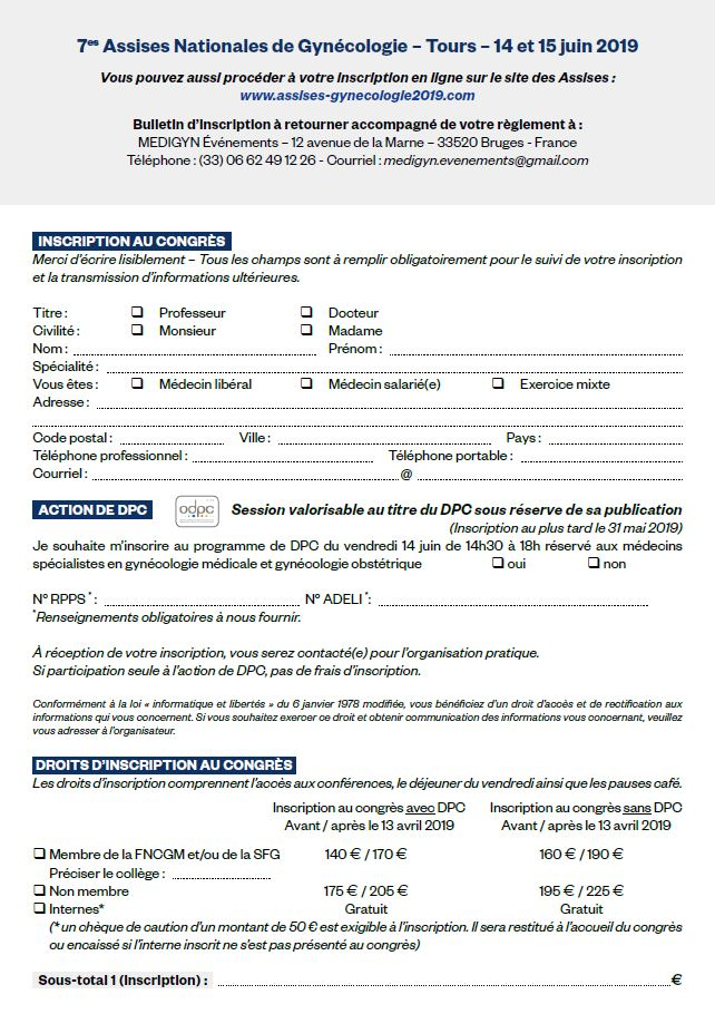 Bulletin d'inscription - 7ème assises Nationales de Gynécologie 2019